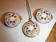 VINTAGE Hillcraft 1/20 12KT GLASS FLOWER JEWELRY NECKLACE Earrings BOX F