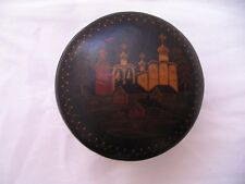 "Vintage Black Lacquered Russian Trinket Box 3"" Dia. 2"" H"
