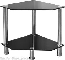 BLACK GLASS AND CHROME CORNER LAMP END TABLE