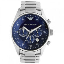 NEW EMPORIO ARMANI MENS BLUE SPORTIVO CHRONO STEEL WATCH - AR5860 - RRP £299