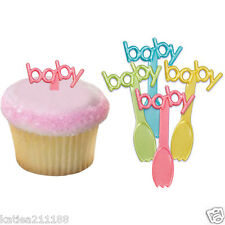 New baby shower party plastic cupcake cake ice cream decoration picks spoons