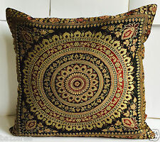 "Indian Mandala Ethnic Banarasi Cushion Cover Covers 16x16"" Faux Silk Black Sofa"