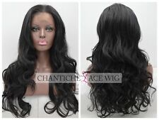 Realistic Lace Front Wigs Synthetic Hair Black Long Natural Wavy Heat Safe UK 24