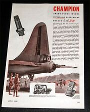 1945 OLD WWII MAGAZINE PRINT AD, CHAMPION SPARK PLUG, B-29 AUXILIARY POWER UNIT!