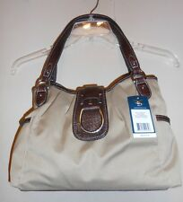 American Living Canvas & Faux Leather Croc Satchel Handbag Khaki NWT