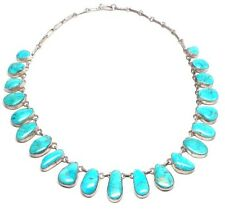 Navajo Handmade Sterling Silver Water Web Kingman Turquoise Necklace