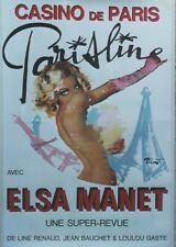 """""""CASINO DE PARIS : PARISLINE"""" Affiche originale entoilée BRENOT 1979 TOUR EIFFEL"""