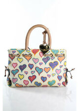 Dooney & Bourke Multi Color Heart Print Coated Canvas Satchel Handbag