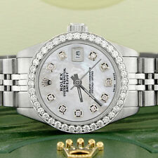 Rolex Datejust Ladies 26mm Steel Jubilee Watch w/White MOP Dial & Diamond Bezel