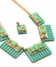 Large Mint Green Panels & Faceted Stone's & Crystal's Bib Necklace Earrings Set