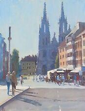 """Original michael richardson """"St Petrus en Paulus Ostende"""" église gothique peinture"""