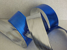 Christmas Shiny Blue & Silver Double Sided Wired Ribbon decorations, bows cakes