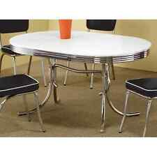 Retro Dining Table Vintage 50's Mid Century Modern Chrome Kitchen Dinette Oval