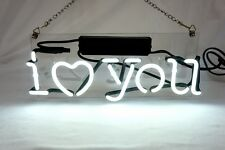 "'I Love You' Beer Bar Pub Art Banner Real Neon Light Sign 12""x5"""
