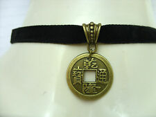 Color Negro 10 Mm Plana Terciopelo Cable Collar Gargantilla Chino Feng Shui Lucky Coin encanto
