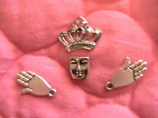 4 FACE HANDS CROWN~charms/bead Tibet SILVER for fimo dolls steampunkart, jewelry