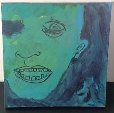 Extreme Art Canvas Painting Woman Face Teeth Scary Terror Despair Horror Creepy