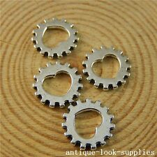 Vintage Silver Alloy Cool Heart Gear Wheel Pendant Charms Findings 100pcs 50764