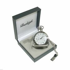 Burleigh Silver Finish Pocket Watch in Gift Box