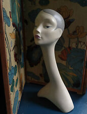 VINTAGE CIGNO COLLO MANICHINO BUSTO CAPO SHOP Millinery Display dipinto a mano