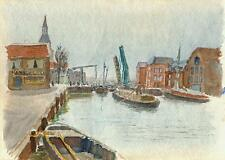 IMPRESSIONIST BOATS ON CANAL HARBOUR Painting CHARLES VERNON METHLEY c1930