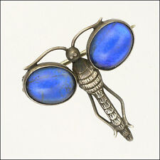 English Art Deco Small Silver Butterfly Wing Dragonfly Brooch / Pin