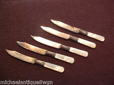 5 Antique MOP & Sterling Banded Landers Frary & Clark Aetna Works Knives