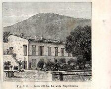 Stampa antica ISOLA d' ELBA Villa di Napoleone Livorno 1889 Old antique print