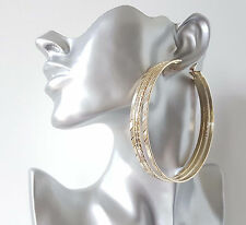 "GORGEOUS! HUGE gold tone 3 row wide patterned hoop earrings, 9cm - 3.5""   NEW IN"