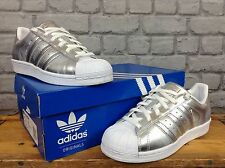 ADIDAS LADIES UK 4.5 SILVER LEATHER SUPERSTARS SHELLTOE PERFORATED TRAINERS £80