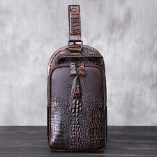 Men Genuine Leather Messenger Shoulder Bag Crocodile pattern Sling Chest Pack