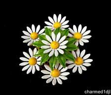 Vintage Enamel Daisy Cluster Brooch Pin White Yellow Green Flower 1960s