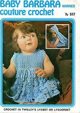 Warner 517 Vintage Baby Crochet Pattern Girls Dress and Hooded Cape  22-24""