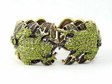Frog Hinged Bangle Bracelet Used Swarovski Crystal Olivine