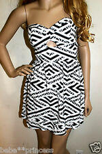 NWT bebe black white contrast strapless bustier flare top dress cutout XL 12