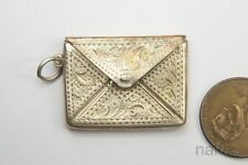 ANTIQUE ENGLISH STERLING SILVER ENVELOPE STAMP CASE CHARM c1910
