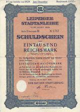 Comune di Lipsia colpa fittizio 1000 RM 1928 uncancelled con cedole