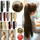 UK Clip in Ponytail Hair Extensions Wrap on Pony tail Black Brown Hairpiece lb92