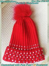 ✨Crystal Red Beanie Snow Ski Winter Bobble Pom Pom Hat FAST��✨
