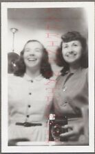 Unusual Vintage Photo Pretty Girls Selfie w/ Snapshot Camera in Mirror 676465