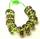Handmade Lampwork Glass Rondelle Beads Transparent Green Core(10)