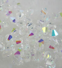 Jewelry making 100pcs 4mm #5301 colorful Bicone glass crystal beads Clear AB  W1