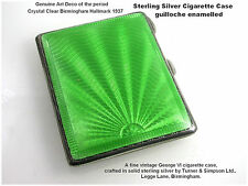 Art Deco Cigarette Case Guilloche Enamel Sterling Silver Turner & Simpson c1937