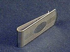 Money Clip ~ Silver-Tone Scallops & Bar Lines, Oval Engraving Space #5320300