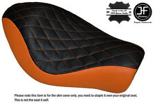 BLACK & ORANGE DIAMOND CUSTOM FOR HARLEY SPORTSTER LOW IRON 883 SOLO SEAT COVER