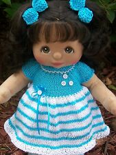 Hand Knitted Aqua Striped Summer Dress & Bows to Fit YOUR Mattel My Child Doll