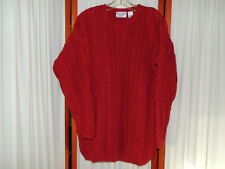 Women's Top Sweater Knit LS RN PO Cable Burgundy Cotton Soft NORDSTROM'S L