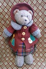 "RUSS Berrie BELLA plush TEDDY BEAR Christmas 18"" snowman coat buttons No Tag"