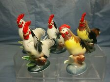 "Lot of 5 Vintage Chicken Roosters Ceramic 4"" Tall with Feathers Enesco Figurines"