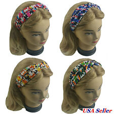 4 PCS  Twisted Turban Head Wrap Elastic Headband Women Girl Aztec Style Print